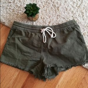 Aerie Olive Drawstring Cut Off Shorts